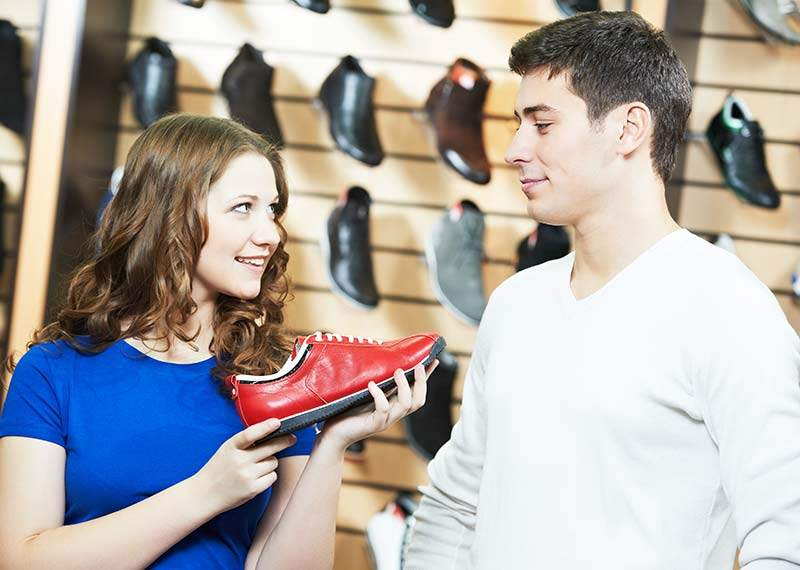 boy with girl at shoes shop